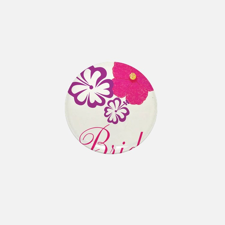Pink and Purple Bride Hibiscus Flower Mini Button