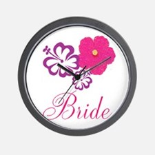 Pink and Purple Bride Hibiscus Flower Wall Clock