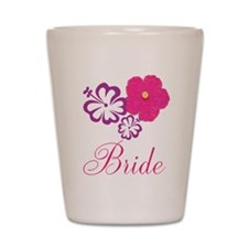 Pink and Purple Bride Hibiscus Flower Shot Glass