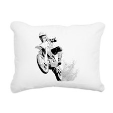 Dirtbike Wheeling in Mud Rectangular Canvas Pillow