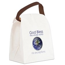 God Bless the Whole World Canvas Lunch Bag