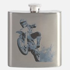 Blue Dirtbike Wheeling in Mud Flask