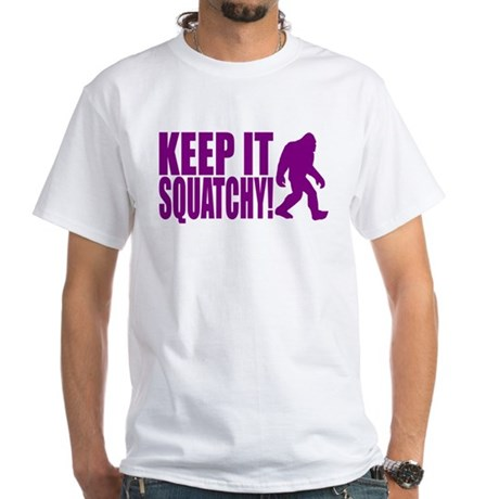 Purple KEEP IT SQUATCHY! White T-Shirt