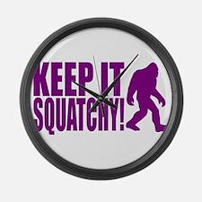 Purple KEEP IT SQUATCHY! Large Wall Clock