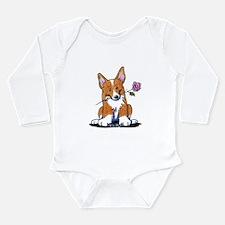 Corgi w/ Flower Long Sleeve Infant Bodysuit