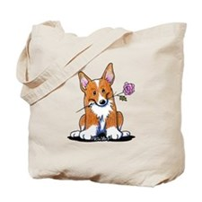 Corgi w/ Flower Tote Bag