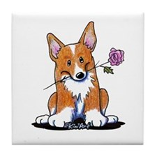 Corgi w/ Flower Tile Coaster