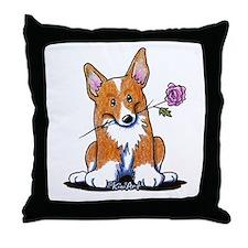 Corgi w/ Flower Throw Pillow