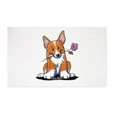 Corgi w/ Flower 3'x5' Area Rug