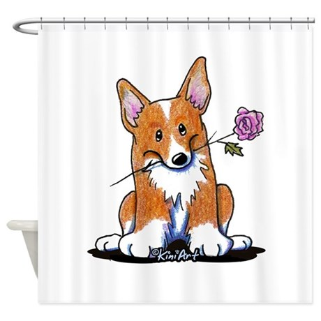 Corgi w/ Flower Shower Curtain