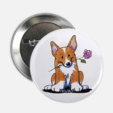"Corgi w/ Flower 2.25"" Button"