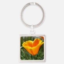 Single Poppy Square Keychain