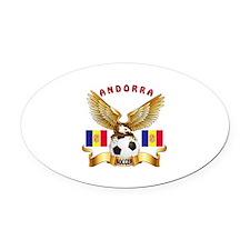 Andorra Football Design Oval Car Magnet