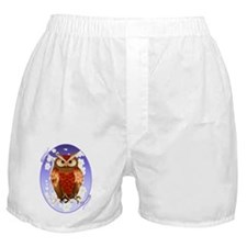 Bright Brown Owl-White Blooms Oval Boxer Shorts