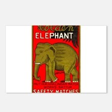 Antique India Golden Elephant Matchbox Label Postc