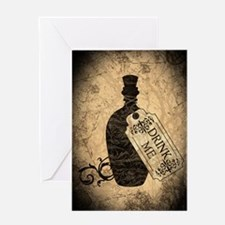 Drink Me Bottle Worn Greeting Card