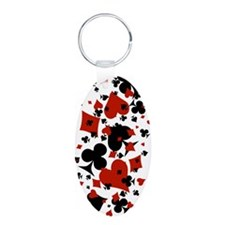 Scattered Card Suits Aluminum Oval Keychain