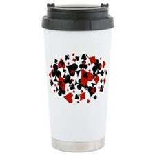 Scattered Card Suits Travel Mug
