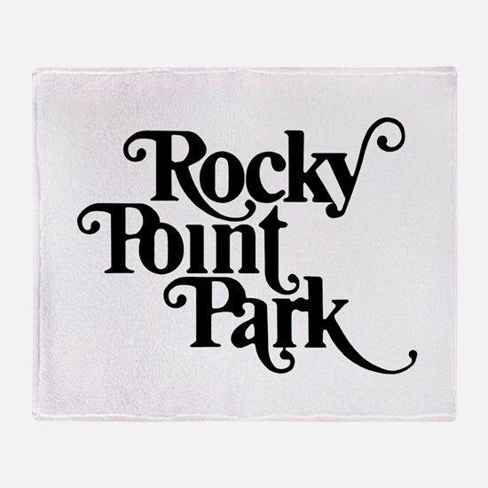 Rocky Point Park Logo - BLACK Throw Blanket