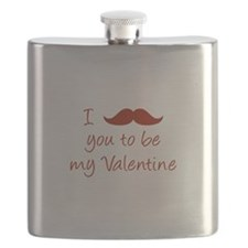 I Mustache You To Be My Valentine Flask
