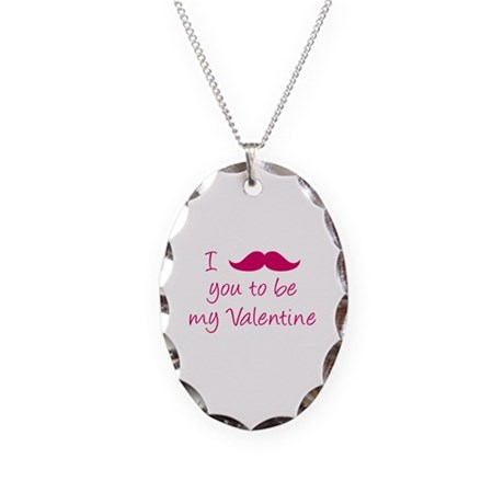 I Mustache You To Be My Valentine Necklace Oval Ch