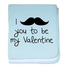 I Mustache You To Be My Valentine baby blanket