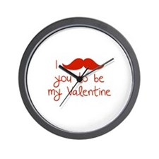 I Mustache You To Be My Valentine Wall Clock