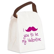 I Mustache You To Be My Valentine Canvas Lunch Bag