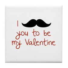 I Mustache You To Be My Valentine Tile Coaster