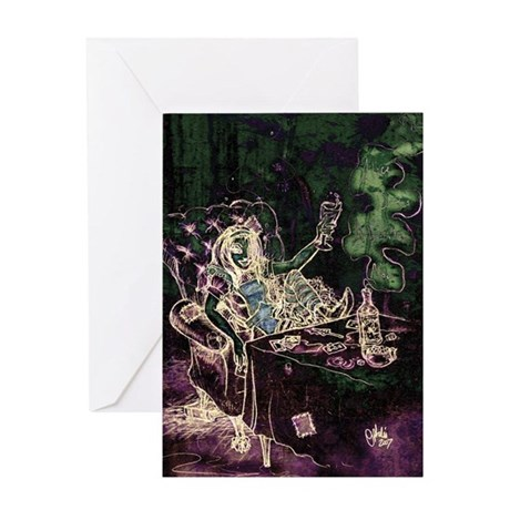 Alice Drinks Absinthe Now Dark Greeting Card