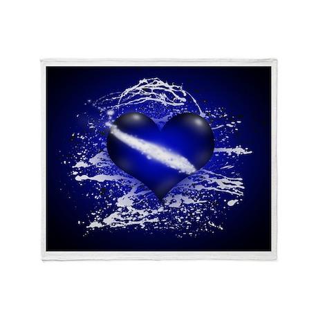 Electric Cobalt Heart (sb) Throw Blanket
