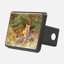 Painting of Momma Fox and Kits Hitch Cover