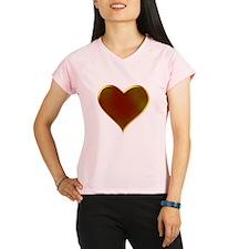 Heart Metallic Golden Valentine Performance Dry T-