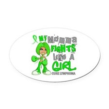 Fights Like a Girl 42.9 Lymphoma Oval Car Magnet