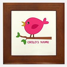Editable Pink Bird Framed Tile