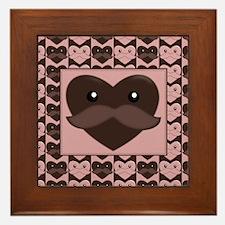 Cute Moustache valentine Framed Tile