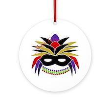 Mardi Gras Feather Mask Ornament (Round)