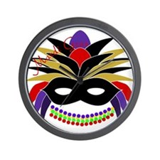 Mardi Gras Feather Mask Wall Clock