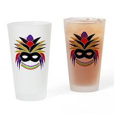 Mardi Gras Feather Mask Drinking Glass