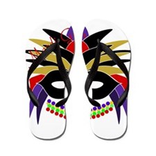 Mardi Gras Feather Mask Flip Flops