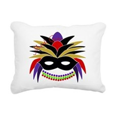Mardi Gras Feather Mask Rectangular Canvas Pillow