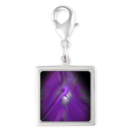 Purple Haze Silver Square Charm