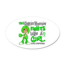 Fights Like a Girl 42.9 Lymphoma Oval Car Magnet