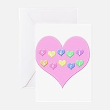 Sweetheart with colored hearts Greeting Cards (Pk