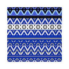 Mix #191 Detail- Blue Aztec design, Queen Duvet