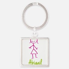 Abigail-cute-stick-girl.png Square Keychain
