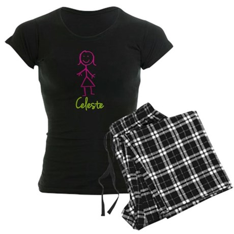 Celeste-cute-stick-girl.png Women's Dark Pajamas