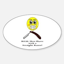 Real men shave with a straight razor. Decal
