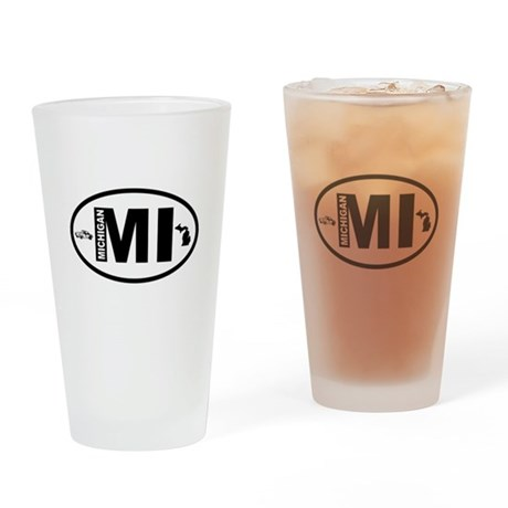 Michigan Car and Map Drinking Glass