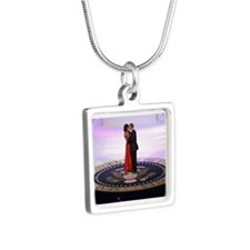 Michelle Barack Obama Silver Square Necklace